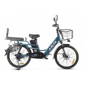 Велогибрид GREEN CITY e-ALFA LUX Сине-серый матовый